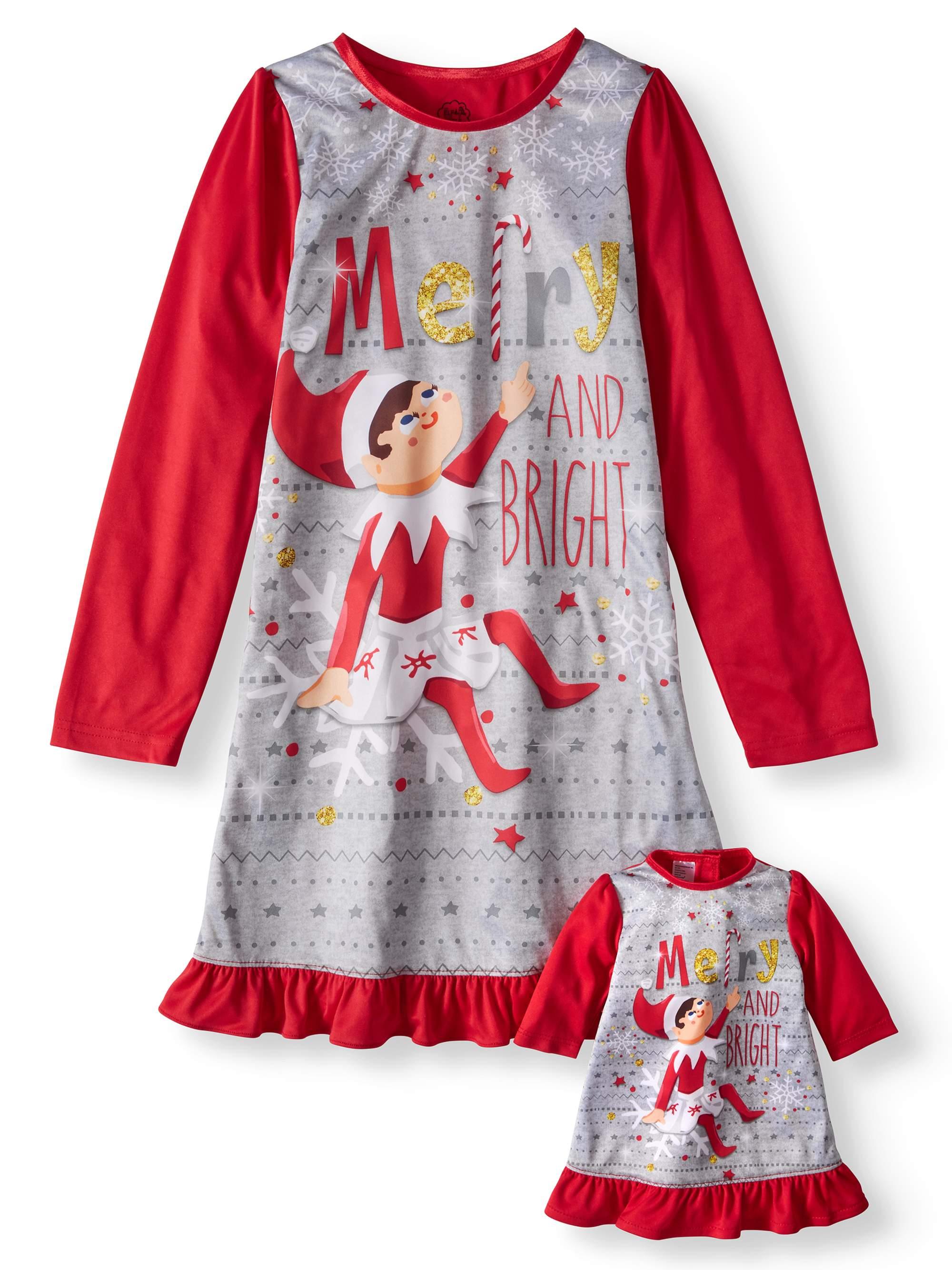 Elf on the Shelf Long Sleeve Nightgown (Big Girl & Little Girl)