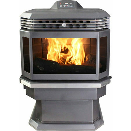 US Stove 2,200 Sq. Ft. Bay Front Pellet Stove with Ash Pan and Remote Control ()