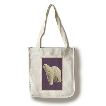 Polar Bear - Letterpress - Lantern Press Poster (100% Cotton Tote Bag - Reusable)