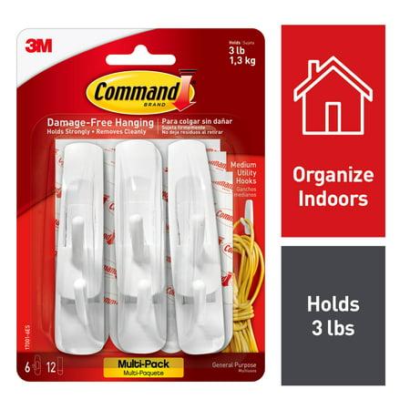 Command Hooks Value Pack, White, Medium, 24 Hooks, 48 Strips