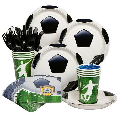 Soccer Party Standard Kit  Serves 8 Guests - Party Supplies (Soccer Themed Birthday Party Supplies)