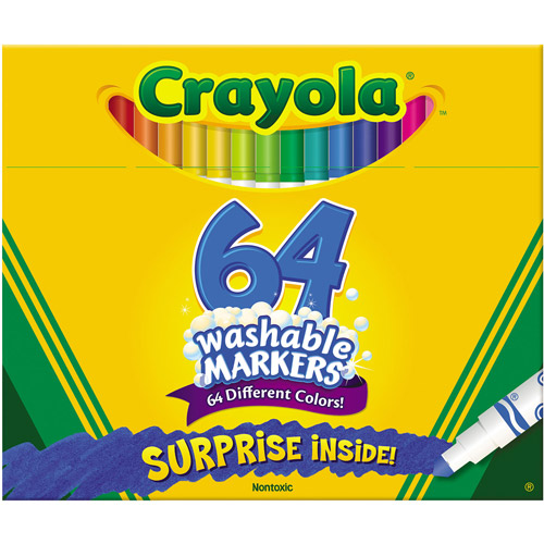 Crayola Washable Pip-Squeaks Skinnies Markers, 64 colors, 64/Box