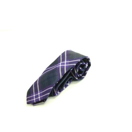 Bar III Navy Blue Men's Plaid Skinny Slim Neck Tie - Cashmere Wool Tie