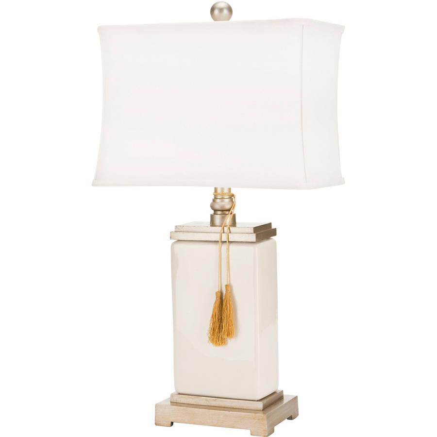 Safavieh Amiliana Tassel Lamp with CFL Bulb, Cream with Off-White Shade