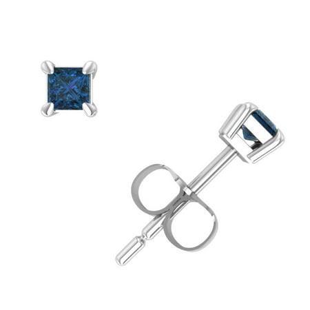 26c1917e82309 1/3Ct Princess Cut Blue Diamond Stud Earrings 14Karat White Gold Set Push  Back I2