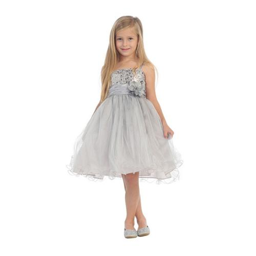My Best Kids Girls Silver Floral Sash Adorned Sequin Junior Bridesmaid Dress 8 - 18