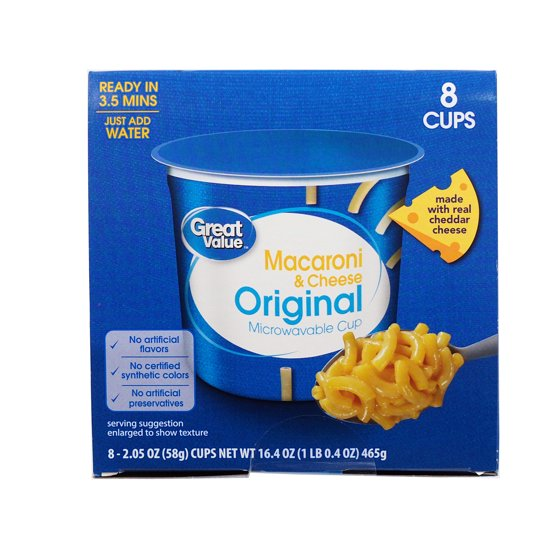 Great Value Macaroni Cheese Microwavable Cups Original 2 05 Oz 8 Count