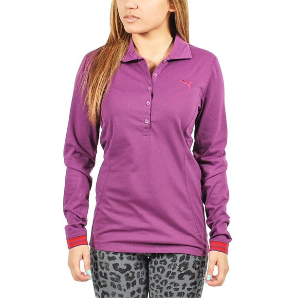 PUMA Women's Long Sleeve Polo Shirt Purple size XS