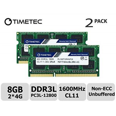 timetec hynix ic 8gb kit (2x4gb) ddr3l 1600mhz pc3l-12800 non ecc unbuffered 1.35v cl11 2rx8 dual rank 204 pin sodimm laptop notebook computer memory ram module upgrade (low density 8gb kit