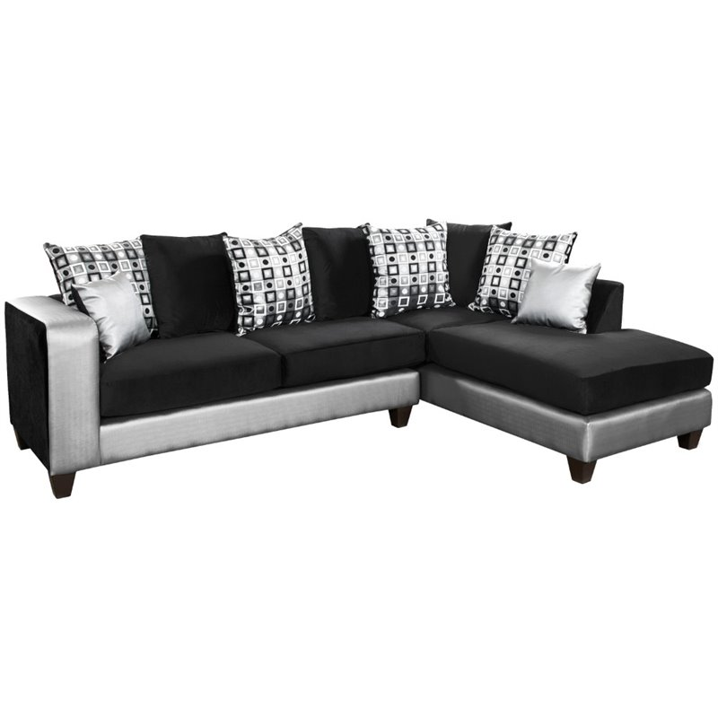 Pemberly Row Velvet Right Facing Sectional in Black and Silver