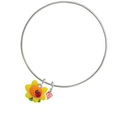 Fimo Clay Sunflower with Ladybug - Pink Bicone Bangle Bracelet