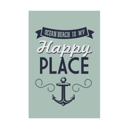 Ocean Beach, New Jersey - Ocean Beach Is My Happy Place (#1) Print Wall Art By Lantern Press ()