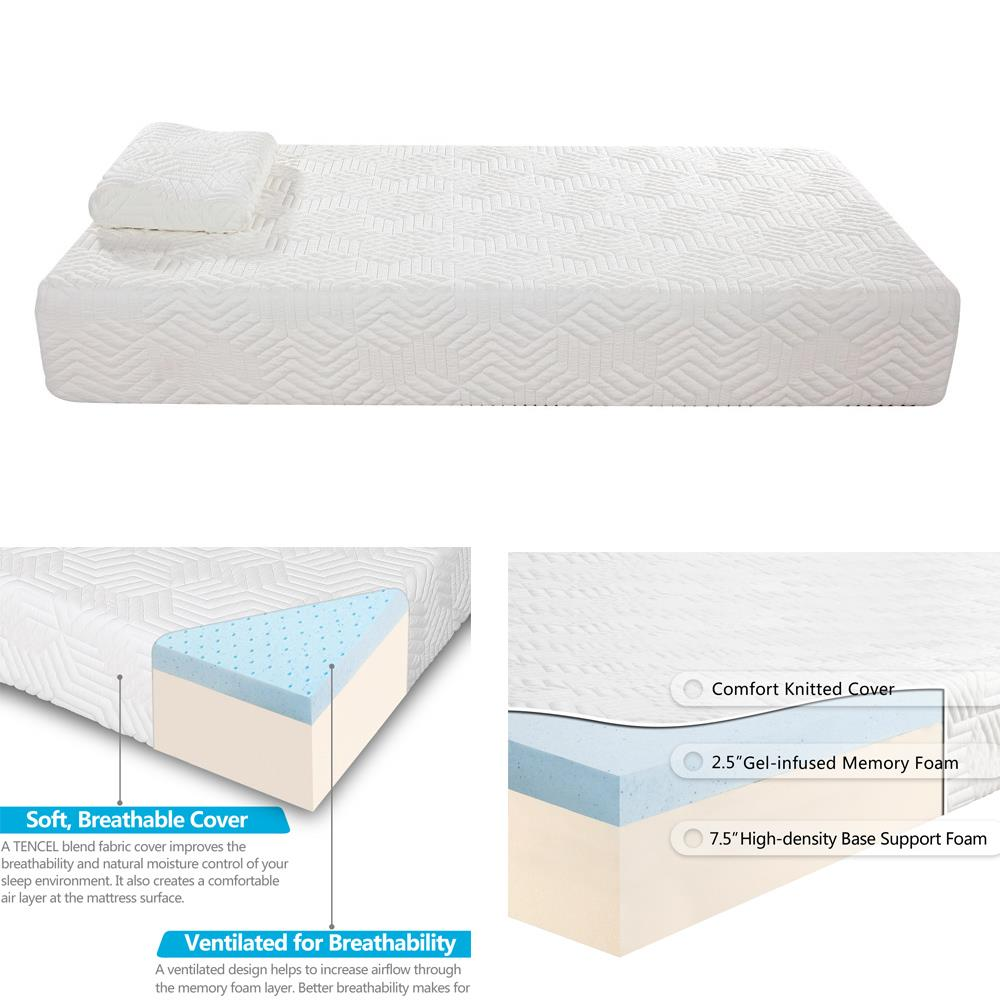 Ktaxon 10 Inch 2 Layer Mattress Traditional Firm Home Bed Twin Size Bonus With 2 Pillow