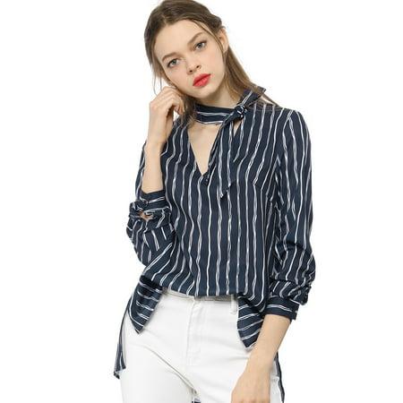 d4fcc73940c Women's Tie V Neck Striped Pattern Long Sleeves Shirt Smart Casual Lady Blouse  Tops Dark Blue ...