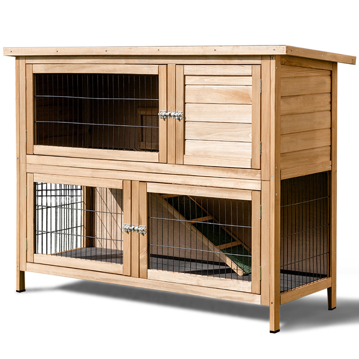 Gymax 52'' Outdoor Rabbit And Small Animal Hutch
