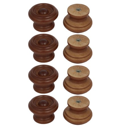 Unique Bargains Cabinet Drawer Single Hole Wooden Pull Knobs Handles Red Brown 37mmx25mm 8pcs