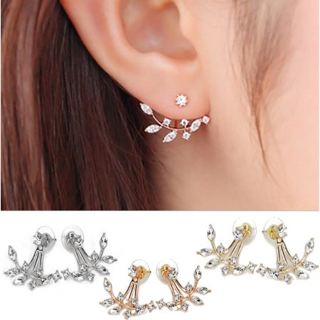 Diamond Blooms Stud Jackets Earrings In Gold Rose Gold And Silver Platings