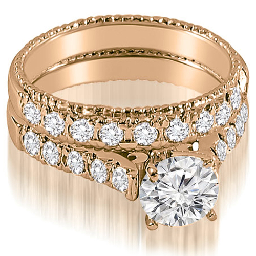 1.35 CT.TW Vintage Cathedral Round Cut Diamond Bridal Set in 14K White, Yellow Or Rose Gold