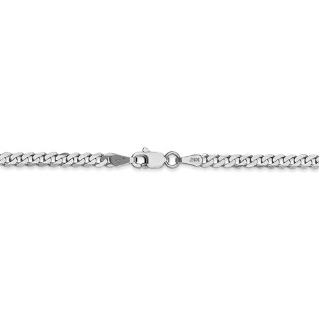 14k White Gold 2.9mm Beveled Link Curb Necklace Chain Pendant Charm Flat Fine Jewelry Gifts For Women For Her - image 3 de 9