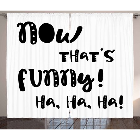 Funny Words Curtains 2 Panels Set, Vintage Doodle Typography with Fun Letters Laughing Good Time Hilarious Jokes, Window Drapes for Living Room Bedroom, 108W X 84L Inches, Black White, by Ambesonne ()