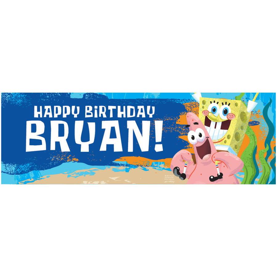 Personalized SpongeBob SquarePants Birthday Banner