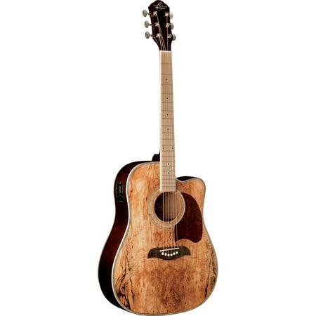 Oscar Schmidt Acoustic/Electric Dreadnought Guitar, Spalted Maple Top, OG2CEMFSM (Maple Top Acoustic Electric Guitar)