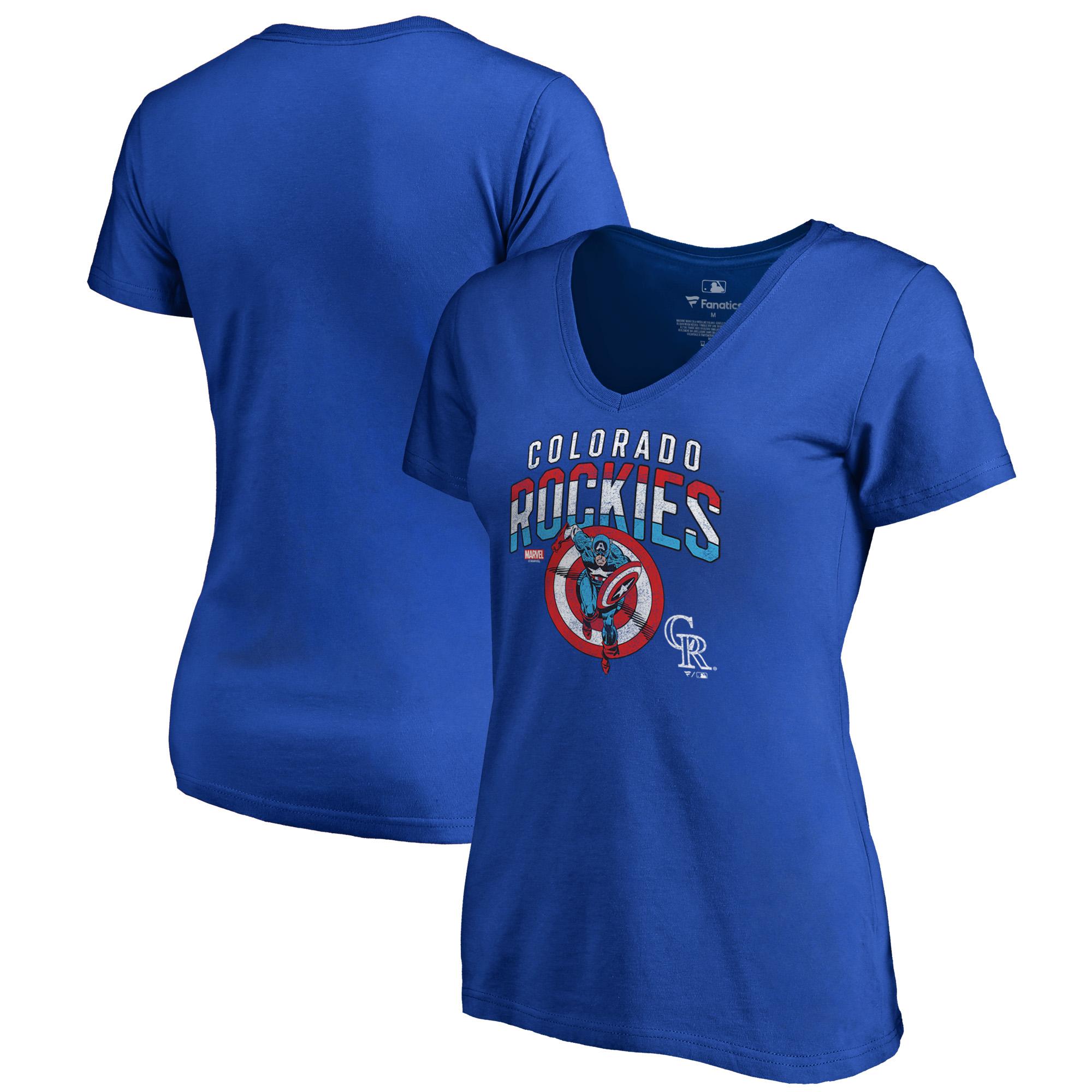Colorado Rockies Fanatics Branded Women's MLB Marvel Captain's Shield V-Neck T-Shirt - Royal