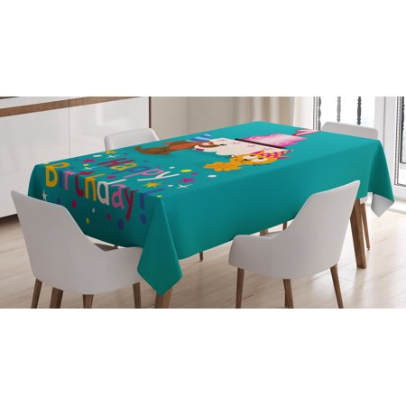 1st Birthday Decorations Tablecloth Toddler Party Cat And Dog With Hats Cake On Petrol Blue