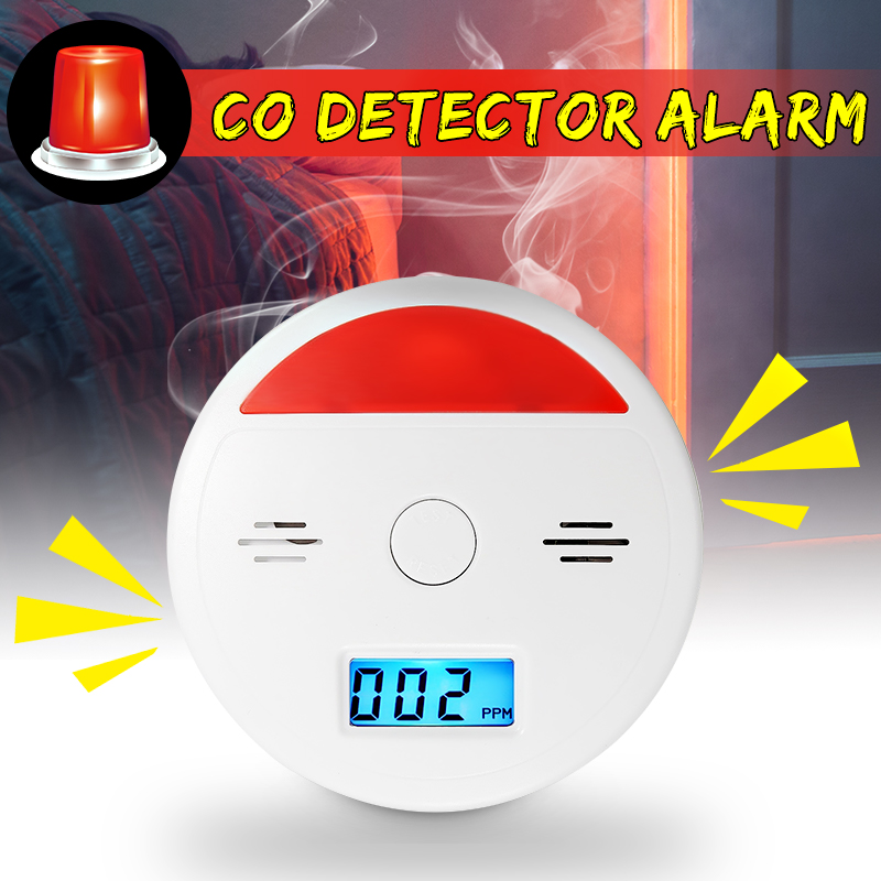 Grtsunsea LCD Display Safety CO Carbon Monoxide Gas Fire Sensor Flashing & Beep Alarm Combo Detectors Monitor Sensor Warning Detector Tester Poisonous Gas Detection Alarm B
