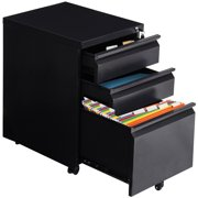 Gymax Black Home Office 3 Drawers Mobile File Cabinet Rolling A4