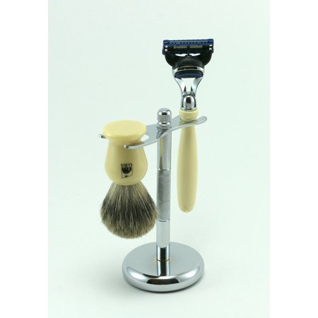 Shaving Gift Set 3 Pc with Faux Ivory 5 Blade Razor, Pure Badger Brush and Chrome Stand From