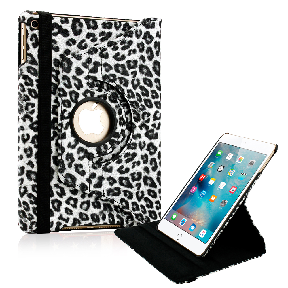 360 Degree Rotating PU Leather Cover Smart Case Swivel Stand for Apple iPad Mini 4 - Black Leopard