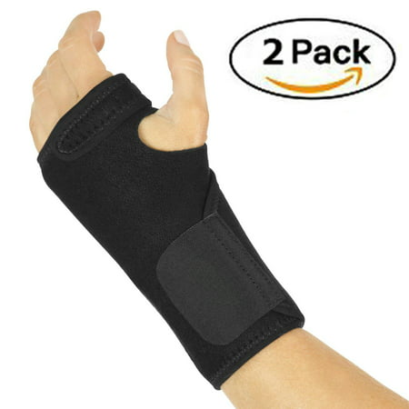 2 Packs Wrist Brace - Hand Compression Support Wrap for Men, Women Carpal Tunnel, Tendinitis, Bowling, Sports Injuries Pain Relief - Removable Splint - Universal Ergonomic (Sports Injury Treatment)