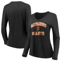 Women's Majestic Black San Francisco Giants Heart & Soul Long Sleeve V-Neck T-Shirt