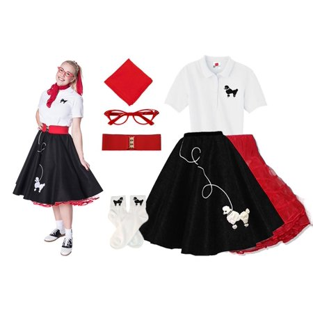 Adult 7 pc - 50's Poodle Skirt Outfit - Black w/Red Acc. / Small