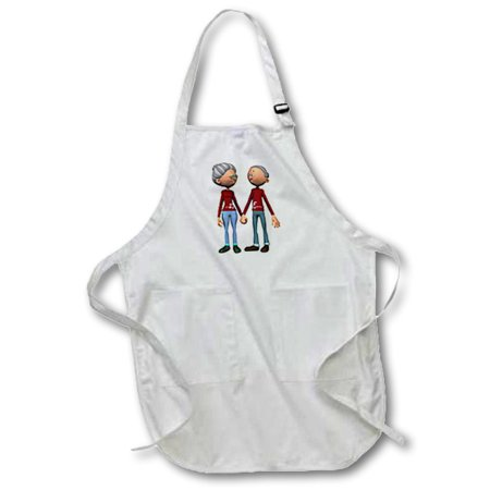 3dRose Older Couple Holding Hands, Full Length Apron, 22 by 30-inch, White, With - Homemade Older Couples