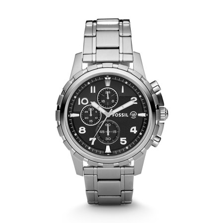 Silver Yellow Wrist Watch - Fossil Men's Dean Stainless Steel Chronograph Watch (Style: FS4542)