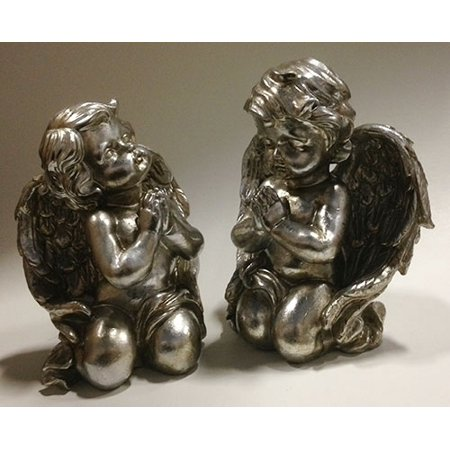 - Set of 2 Pewter Finish Inspirational Praying Cherub Angel Religious Figures 8
