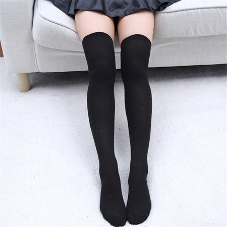 Women Knit Cotton Over The Knee Long Socks Thigh High Stocking Socks Black
