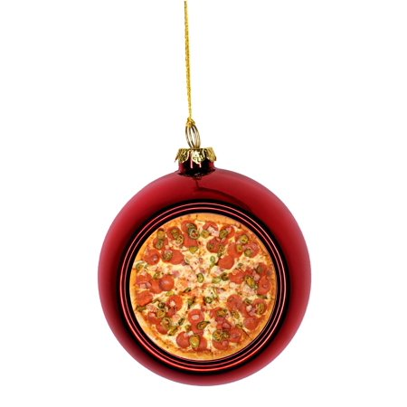 Cheesy Pepperoni Pizza Pie Bauble Christmas Ornaments Red Bauble Tree Xmas Balls ()