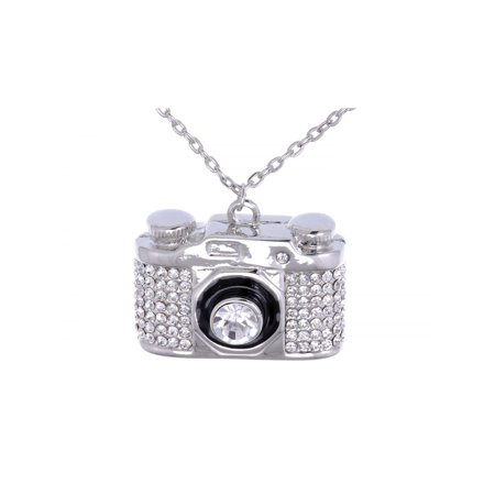 Heavy Bling Ice Out Silver Tone Finished Camera Costume Jewelry Pendant Necklace