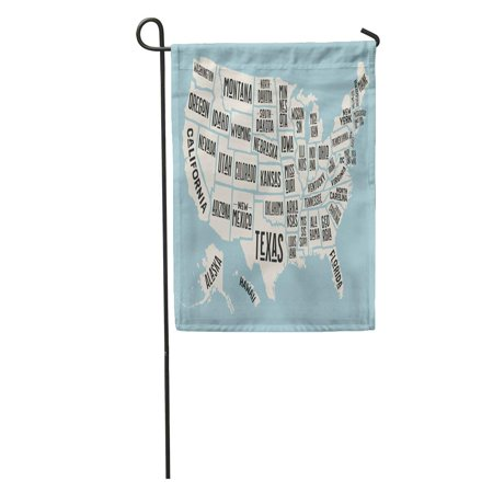 LADDKE Massachusetts Map of United States America Names USA Geographic Themes Colorful City Garden Flag Decorative Flag House Banner 12x18 inch