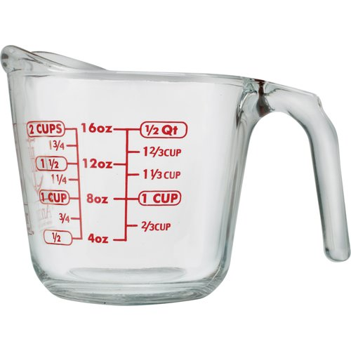 Anchor Hocking 2-cup Decorated Glass Measuring Cup