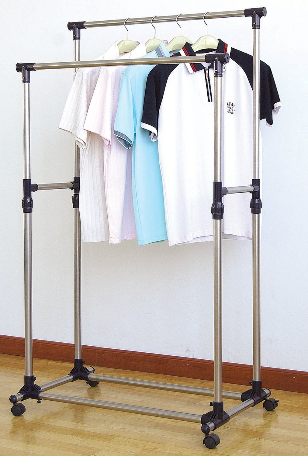Beau ProSource Premium Heavy Duty Double Rail Adjustable Telescopic Rolling  Clothing And Garment Rack   Walmart.com
