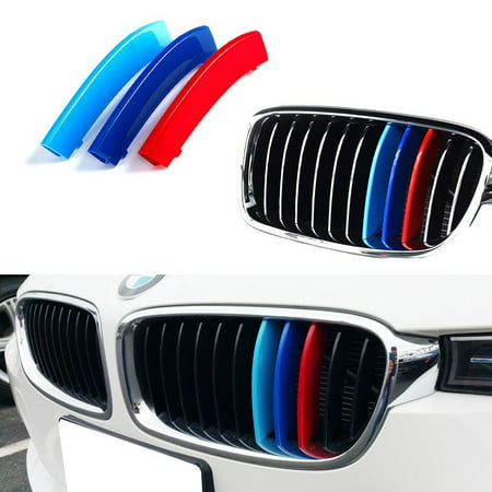 iJDMTOY M-Colored Grille Insert Trims For BMW F30 3 Series 320i 328d 328i 335i 340i w/Standard Kidney Grill (11 Beams), NOT for 8-Beam Black Grille nor M3 (Bmw 3 Series Grill)
