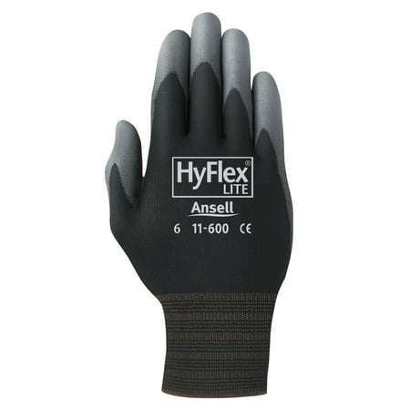 Pro HyFlex Lite Gloves, Black/Gray, Size 10, 12 Pairs