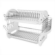 Home Basics 2-Tier Plastic Dish Drainer, White