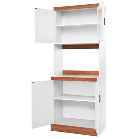 Gymax Tall Microwave Cart Stand Kitchen Storage Cabinet Shelves Pantry Cupboard White - image 3 of 10