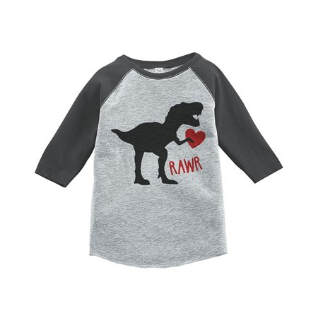Custom Party Shop Kids Dinosaur Happy Valentine's Day Grey Raglan - XL Youth (18-20) T-shirt - Custom Kid Clothes
