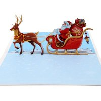 KABOER 3D Pop Up Card Santa Claus Christmas Deer Holiday Merry Christmas Greeting Cards